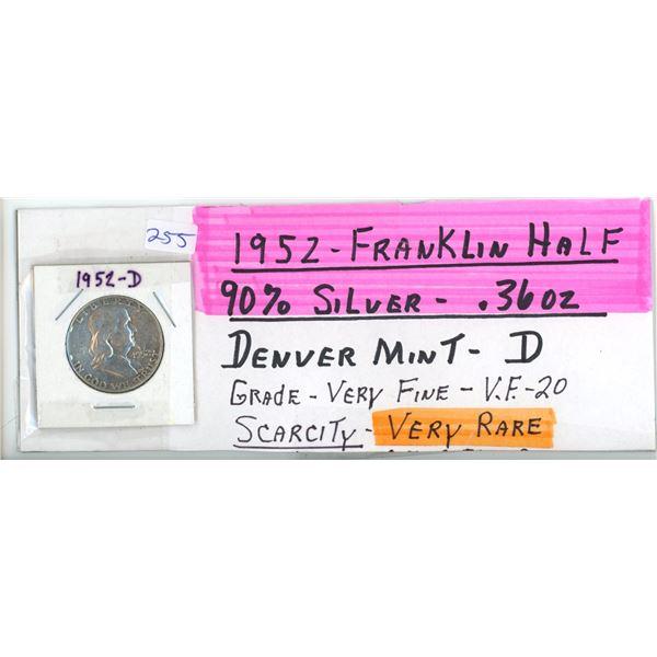 1952D Franklin UD Half Dollar Coin - 90% Silver .36oz