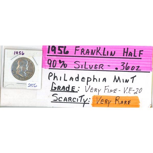 1956 Franklin US Half Dollar Coin - 90% Silver .36oz