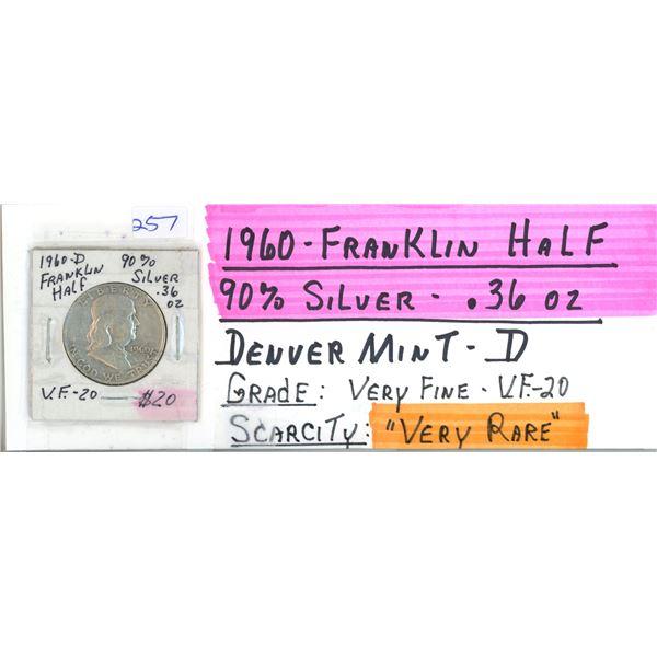 1960D Franklin US Half Dollar Coin - 90% Silver .36oz