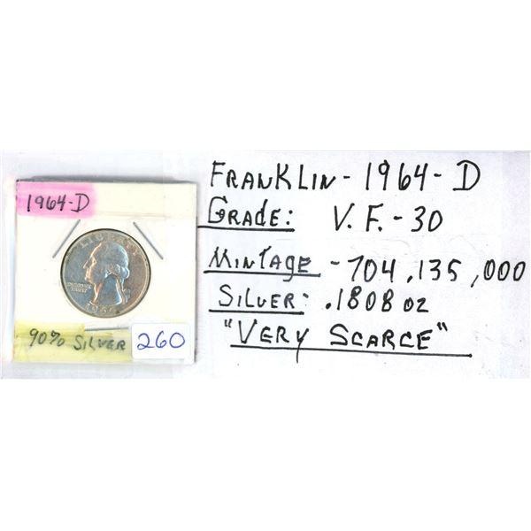1964D Franklin US Quarter Coin - 90% Silver