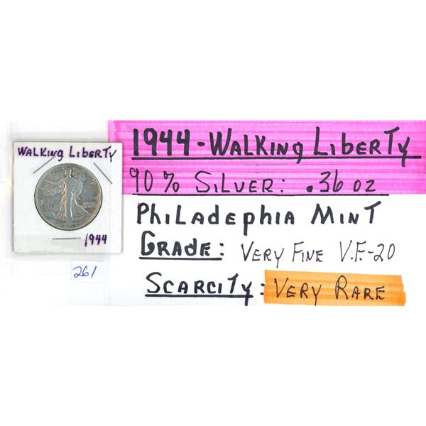 1944 Walking Liberty US Half Dollar Coin - 90% Silver .36oz