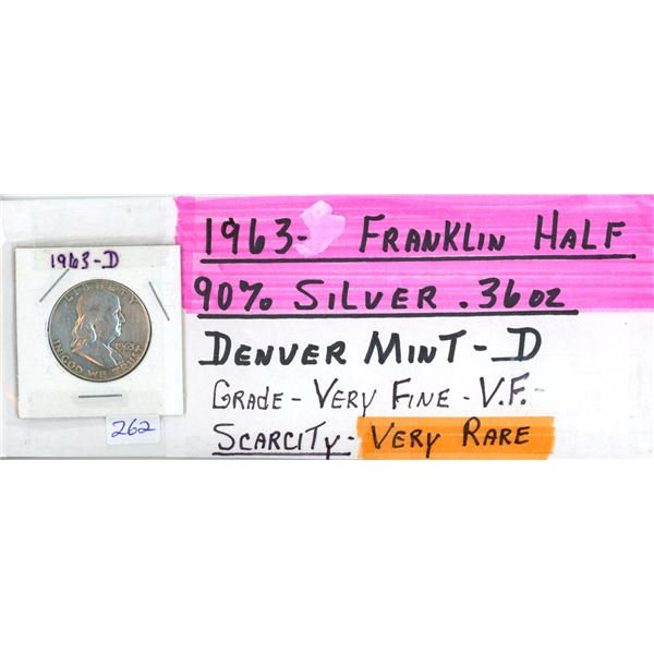 1963D Franklin US Half Dolar Coin - 90% Silver