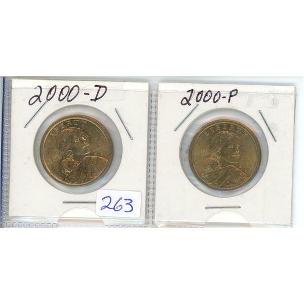 2000D and 2000P US Dollar Coins - Sacagawea X2