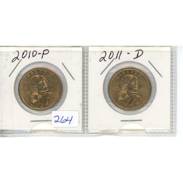 2010P and 2011D US Dollar Coins - Sacagawea X2