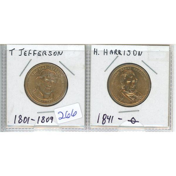 (2) US Presidents commemorative dollar - Jefferson and Harrison