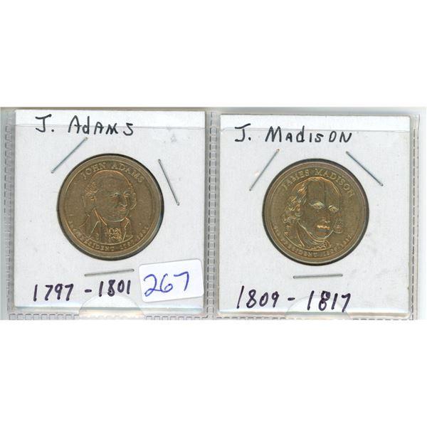 (2) US Presidents commemorative dollar - J Adams and J Madison