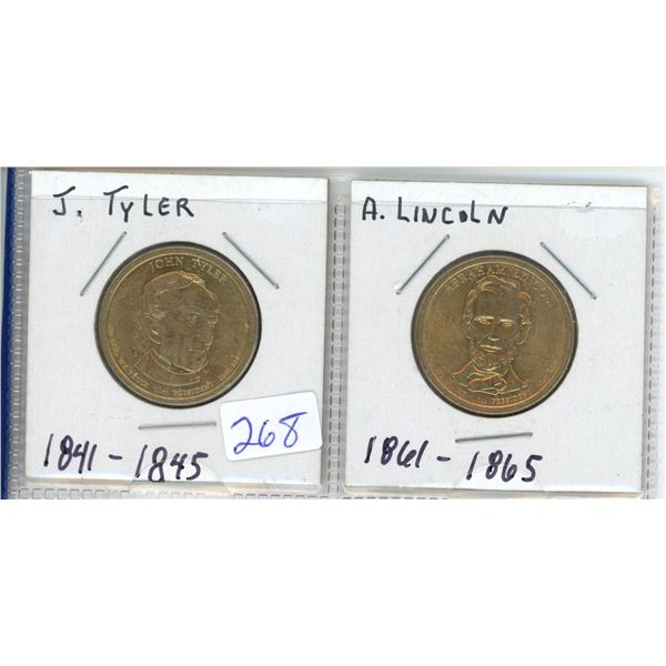 (2) US Presidents commemorative dollar - J Tyler and A Lincoln