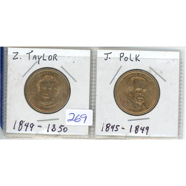 (2) US Presidents commemorative dollar - J Taylor and J Polk