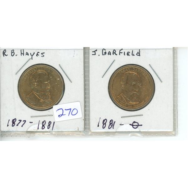 (2) US Presidents commemorative dollar - RB Hayes and J Garfield