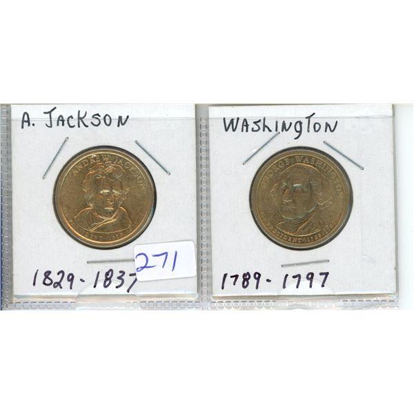 (2) US Presidents commemorative dollar - A Jackson and Washington