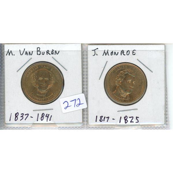 (2) US Presidents commemorative dollar - M Van Buren and J Munroe