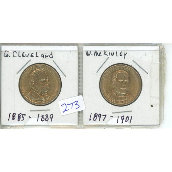 (2) US Presidents commemorative dollar - G Cleveland and W McKinley