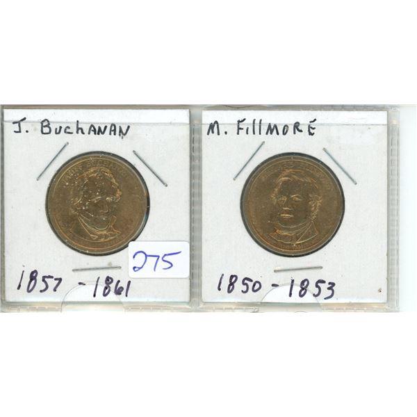 (2) US Presidents commemorative dollar - J Buchanan and M Filmore