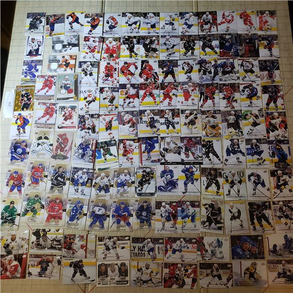 120+ Hockey Trading Cards, mostly modern, at least one numbered card, some jersey cards and several
