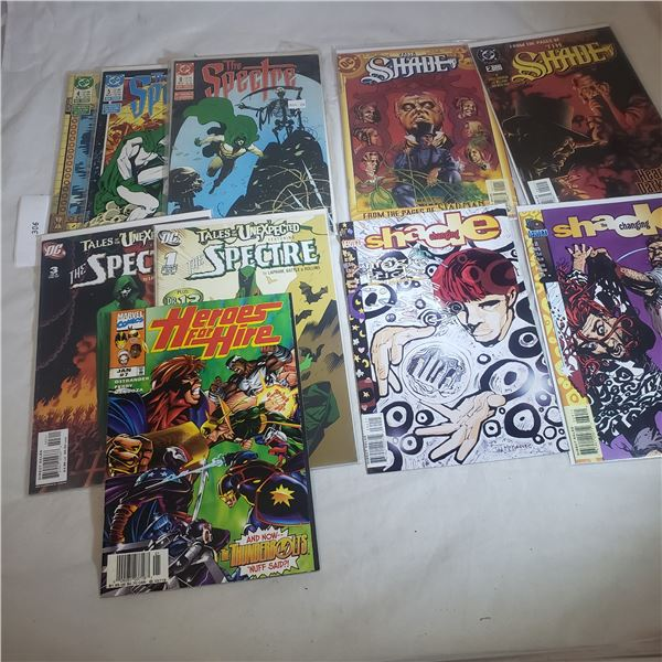 10 Comics D.C. MARVEL The Spectre, Tales of the Unexpected, The Shade, Heroes for Hire