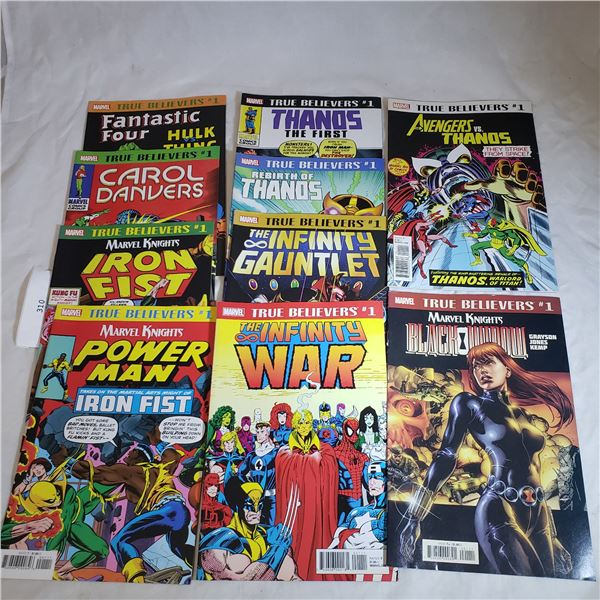 10 Comics MARVEL True Believers- Avengers, Thanos, Infinity War, Iron Fist Power Man, Black Widow