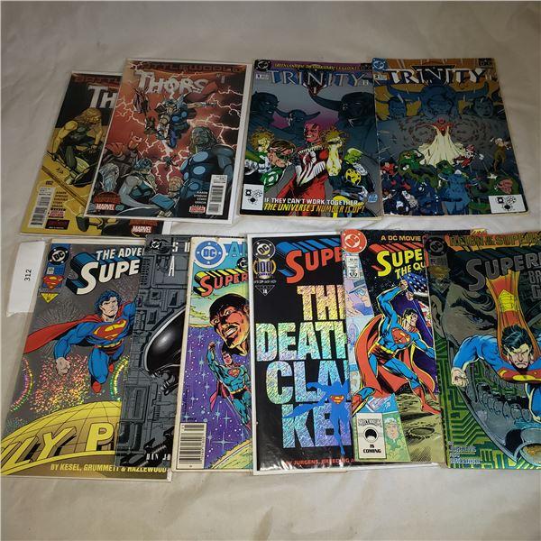 10 Comics MARVEL D.C. Thors, Trinity, Superman