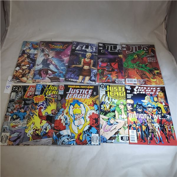 10 Comics MARVEL D.C. JLA Justice Leage of Europe, Justice League of America, Justice Leage Elite, R