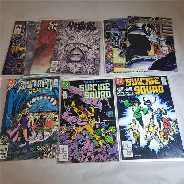 10 Comics D.C. Suicide Squad, Swamp Thing, Amethyst, Shadowhawk 2