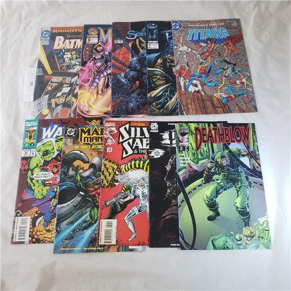 10 Comics MARVEL D.C. Batman, Silver Sable, Deathblow, The new Teen Titans
