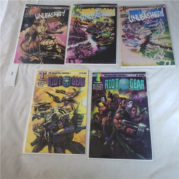 5 serial numbered Comics TRIUMPHANT Unleashed, Riot Gear