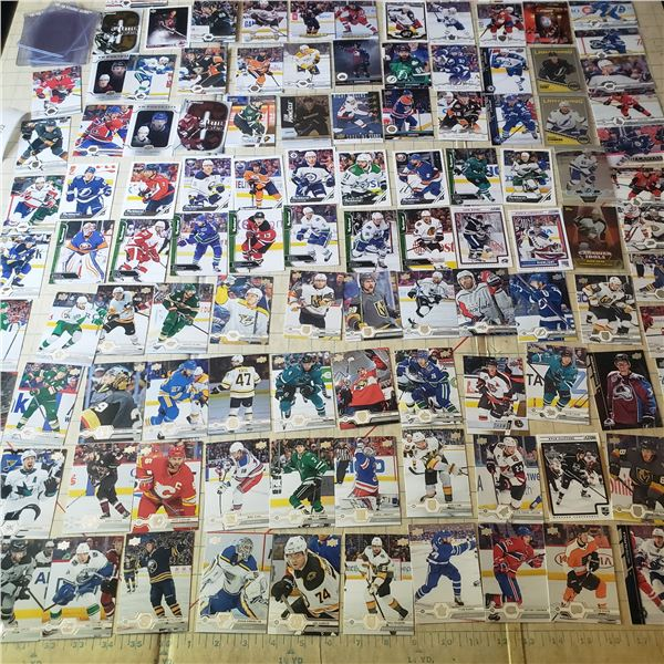 90+ Hockey Cards mostly modern 2000-current, some empty hard sleeves