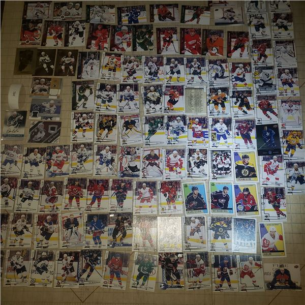 100+ Hockey Cards mostly modern 2000-current + one autograph Card and 3 Jersey Cards Sedin, Bergeron
