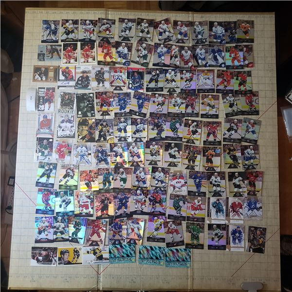 100+ Hockey Cards mostly modern Mosaic trio, Patch cards Avalanche, Bob Bourne JP Dumont numbered ca