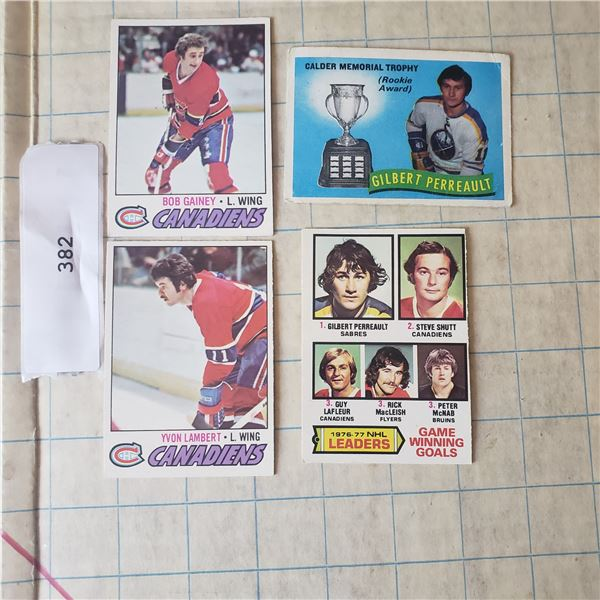 4 1977 OPC O-PEE-CEE NHL Hockey cards Gilbert Perreault Bob Gainey Montreal