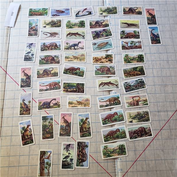 50 Red Rose Blue Ribbon collectible cards Dinosaurs - some duplicates