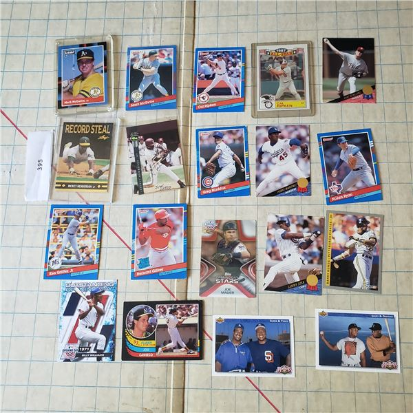 19 Baseball Card lot HOF Includes one numbered Autograph card. Mostly junk wax era Cal Ripkin Mark M