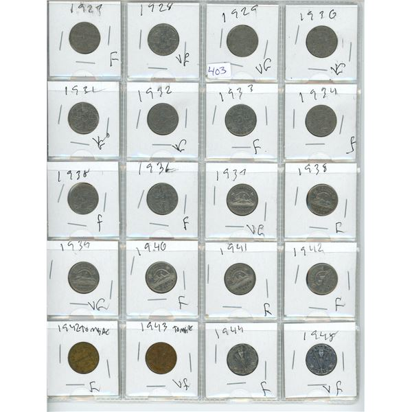 1927-1945 Canadian 5 Cent Coins X20 (42-48 Victory Coins)