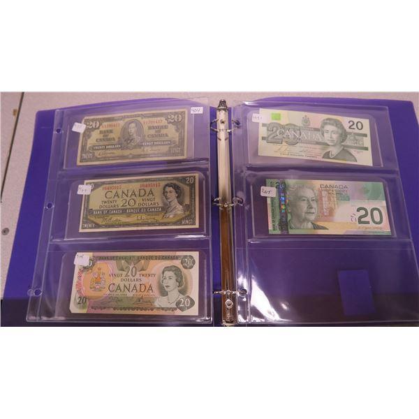 1937, 1954, 1979, 1991 and 2004 Canadian 20 Dollar Bills - 5 Bills