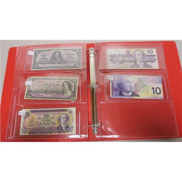 1937, 1954, 1971, 1989 and 2001 Canadian 10 Dollar Bills - 5 Bills