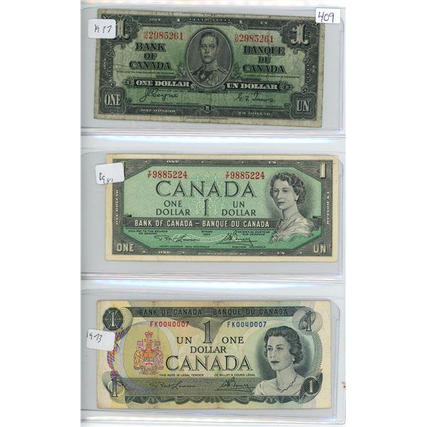 1937, 1954, 1973 Canadian 1 Dollar Bills - 3 Bills