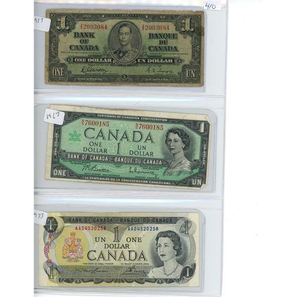 1937, 1967, 1973 Canadian 1 Dollar Bills - 3 Bills