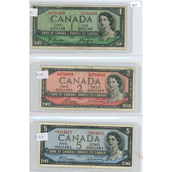 1954 Canadian 1 Dollar Bill, 1954 2 Dollar Bill and 1954 5 Dollar Bill - 3 Bills