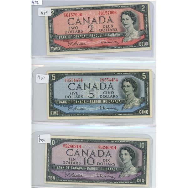1954 Canadian 2, 5, 10 Dollar Bills- X3 Bills