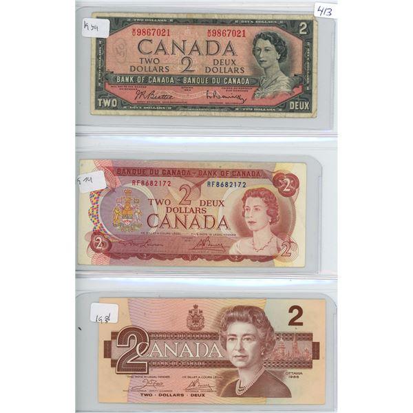 1954, 1974, 1986 Canadian 2 Dollar Bills - X3 Bills