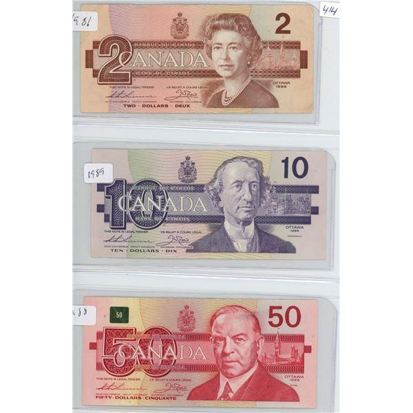 1986 Canadian 2 Dollar Bill, 1989 10 Dollar Bill, 1988 50 Dollar Bill - 3 Bills
