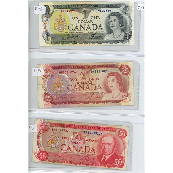 1973 Canadian 1 Dollar Bill, 1974 Canadian 2 Doolar Bill and 1975 Canadian 50 Dollar Bill