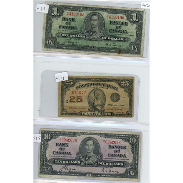 1937 Canadian 1 Dollar Bill, 1937 Canadian 10 Dollar Bill and 1923 25 Cent Shinplaster Bill