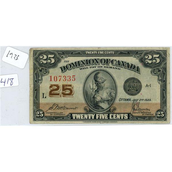 1923 Canadian 25 Cent Shinplaster Bank Note/Bill