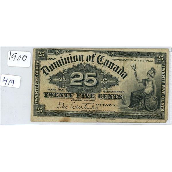 1900 Canadian 25 Cent Shinplaster Bank Note/Bill