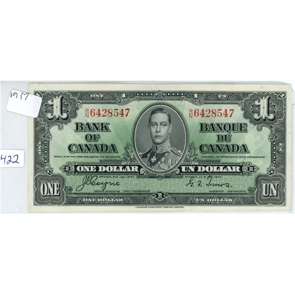 1937 Canadian 1 Dollar Bill