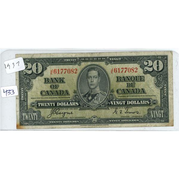 1937 Canadian 20 Dollar Bill