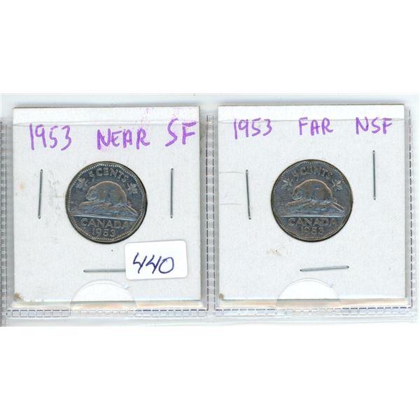 1953 Canadian 5 Cent Coins (Near X1 and Far X1)