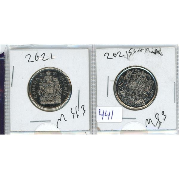 2021 Canadian 50 Cent Coins X2 (George VI and Elizabeth II)