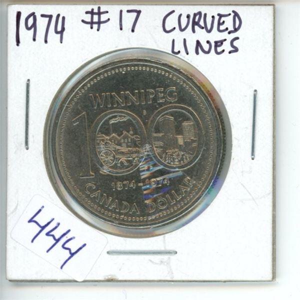 1974 Canadian 1 Dollar Coin - 100 Years Winnipeg
