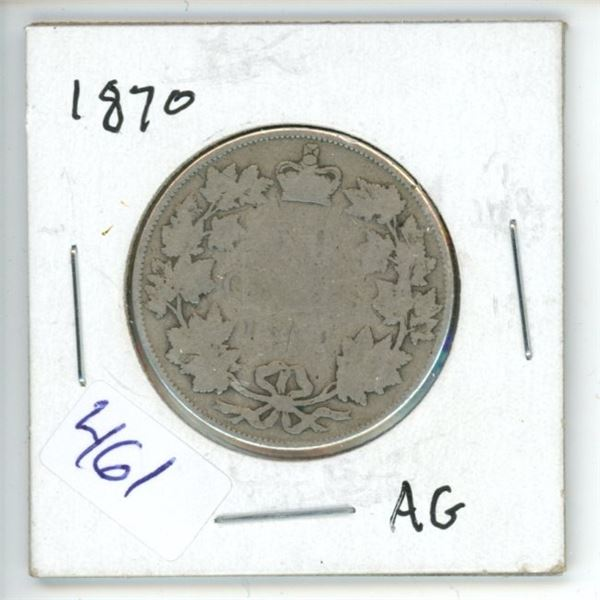 1870 Canadian 50 Cent Coin
